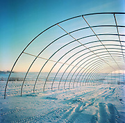 A new green house under construction at Meyers Farm in Bethel, Alaska. 2011