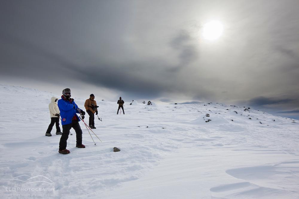 "Photo workshop ""edutrip"" on the summit of Mount Washington in New Hampshire's White Mountains. Winter."