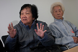 © licensed to London News Pictures. London, UK 07/05/2012. (L) Chong Koon Ying and (R) Lim Ah Yin, survivors from Batang Kali massacre, describing the massacre at press conference today at Bindmans Office before the official hearing tomorrow for the massacre in Malaysian village in 1948 by British Soldiers. Photo credit: Tolga Akmen/LNP