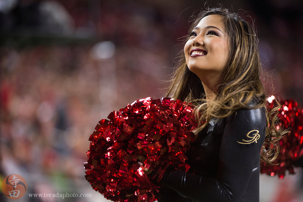 September 14, 2015; Santa Clara, CA, USA; San Francisco 49ers Gold Rush cheerleader Airi performs during the second quarter against the Minnesota Vikings at Levi's Stadium. The 49ers defeated the Vikings 20-3.