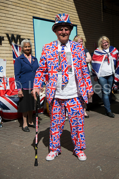 London, UK. Thursday 23rd April 2015. Royalist Terry Hutt with other royalists opposite the Lindo Wing of St Mary's Hospital, where Kate Middleton, Duchess of Cambridge is due to give birth to her second child. Proud to be dressed in Union Jack flags for birth of the latest Royal baby. Terry is always a key part of these events and commands much media attention.
