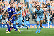 Frank Lampard of Man city 'celebrates' after he scores his sides 1st goal to make it 1-1, Chelsea's John Terry looks on dejected.. Barclays premier league match, Manchester city v Chelsea at the Etihad stadium in Manchester,Lancs on Sunday 21st Sept 2014<br /> pic by Andrew Orchard, Andrew Orchard sports photography.