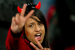 A Spain fan celebrates after the 2010 FIFA World Cup South Africa Group H Second Round match between Spain and Honduras on June 21, 2010 at Ellis Park Stadium, Johannesburg, South Africa.   (Photo by Vid Ponikvar / Sportida)