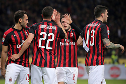 March 2, 2019 - Milan, Milan, Italy - Mateo Musacchio #22 of AC Milan celebrates with team-mates after scoring the his goal during the serie A match between AC Milan and US Sassuolo at Stadio Giuseppe Meazza on March 02, 2019 in Milan, Italy. (Credit Image: © Giuseppe Cottini/NurPhoto via ZUMA Press)