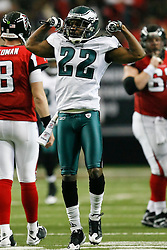 Philadelphia Eagles cornerback Asante Samuel #22 reacts after a play during the NFL game between the Philadelphia Eagles and the Atlanta Falcons on December 6th 2009. The Eagles won 34-7 at The Georgia Dome in Atlanta, Georgia. (Photo By Brian Garfinkel)