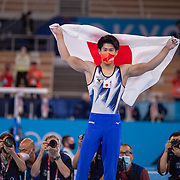 TOKYO, JAPAN - JULY 28: Daiki Hashimoto of Japan celebrates after winning the gold medal during the Men's All Round competition at Ariake Gymnastics Centre at the Tokyo 2020 Summer Olympic Games on July 28, 2021 in Tokyo, Japan. (Photo by Tim Clayton/Corbis via Getty Images)