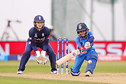 India womens cricket Poonam Raut  caught England womens cricket Danielle Wyatt bowled England womens cricket Danielle Hazell   for 86 during the ICC Women's World Cup match between England and India at the 3aaa County Ground, Derby, United Kingdom on 24 June 2017. Photo by Simon Davies.
