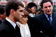 Francois Mitterrand Funeral in his home town of Jarnac in the Charente in south western France 11 January 1996<br />The Danielle Mitterrand the wife of Francois Mitterrand follow his coffin at the former Presidents funeral on the right is Jean-Christophe Mitterrand the son of both Danielle and Francois.