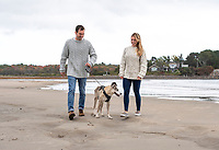 Janelle, Corey and Miss Ziggy at Parson's Beach, Wells, Maine.    ©2021 Karen Bobotas Photographer