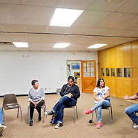 021315       Cable Hoover<br /> <br /> Concerned community members sit together for a discussion on homelessness Friday at the Octavia Fellin Public Library in Gallup.