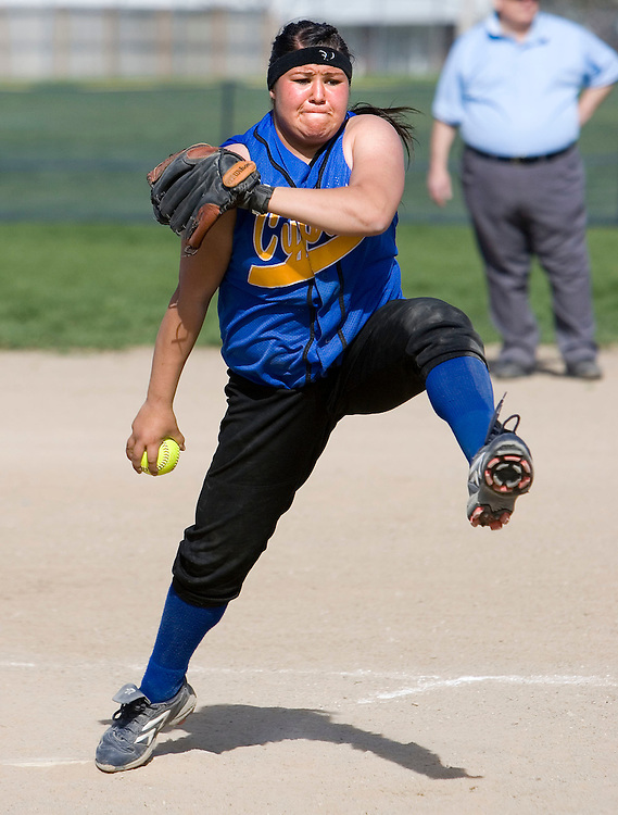 THIS IS FOR A ZONE FEATURE-----Cyrpess  pitcher Brandi Lovato during a game against Hunter. Hunter defeated  Cyrpess 3-1 in girls softball on Thursday, April 5, 2007 in Salt Lake City, Utah. August Miller/ Deseret Morning News