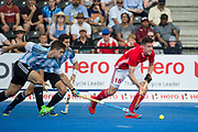 England's Phil Roper comes away with the ball. England v Argentina - Hockey World League Semi Final, Lee Valley Hockey and Tennis Centre, London, United Kingdom on 18 June 2017. Photo: Simon Parker