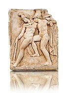 Photo of Roman relief sculpture, Aphrodisias, Turkey, Images of Roman art bas reliefs.  Achilles supports the dying Amazon queen Penthesilea whom he has mortally wounded. Her double headed axe slips from her hands. The queen had come to fight against the Greeks in the Trojan war and Achilles fell in love with her.