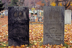 Tombstones At Cemetery