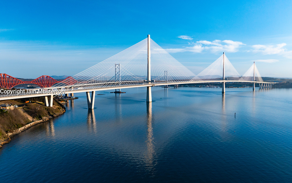 Aerial view of Queensferry Crossing cable-stayed bridge spanning River Forth at North Queensferry, Scotland UK