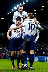 Harry Kane of Tottenham Hotspur celebrates with teammates after scoring a goal to make it 6-2 - Mandatory by-line: Robbie Stephenson/JMP - 23/12/2018 - FOOTBALL - Goodison Park - Liverpool, England - Everton v Tottenham Hotspur - Premier League