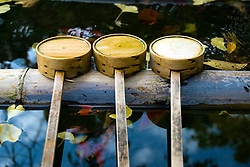 Bamboo cups for washing and cleansing at Kompira san Shrine in Shikoku Japan 2007