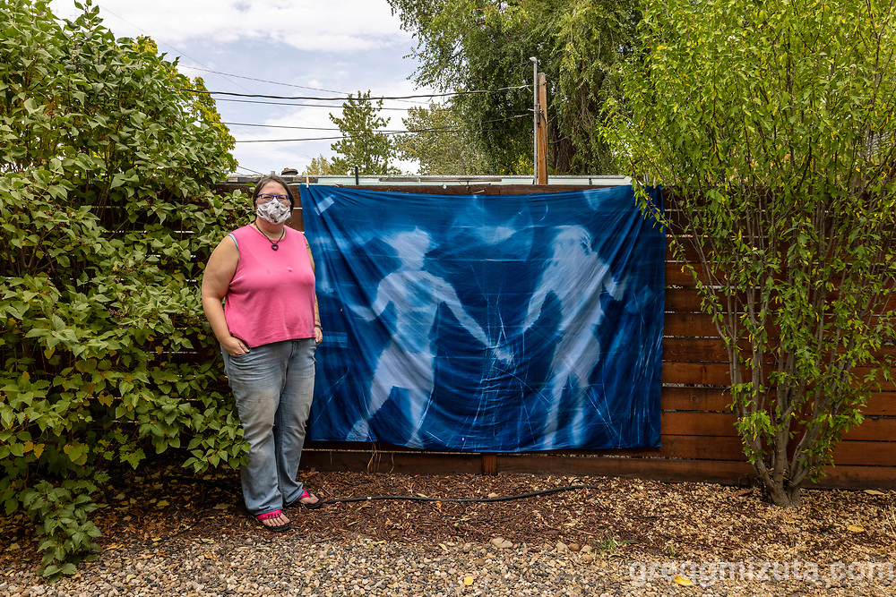 Jessie Swimeley's Pandemic in Blue Take Two! 5' x 7' cyanotype mural. September 18, 2021 at Surel's Place in Garden City, Idaho.