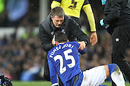 Ramiro Funes Mori of Everton is treated on the pitch for a head wound. The Emirates FA cup, 3rd round match, Everton v Dagenham & Redbridge at Goodison Park in Liverpool on Saturday 9th January 2016.<br /> pic by Chris Stading, Andrew Orchard sports photography.