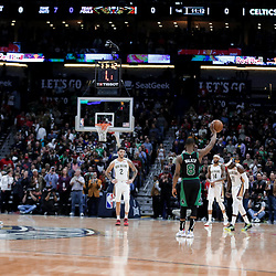 Jan 26, 2020; New Orleans, Louisiana, USA;  Boston Celtics guard Kemba Walker (8) holds the ball for a 24 second shot clock violation on their first possession of the game in tribute to former Los Angeles Lakers star Kobe Bryant whom died in a helicopter crash Sunday morning during the first quarter at the Smoothie King Center. Mandatory Credit: Derick E. Hingle-USA TODAY Sports
