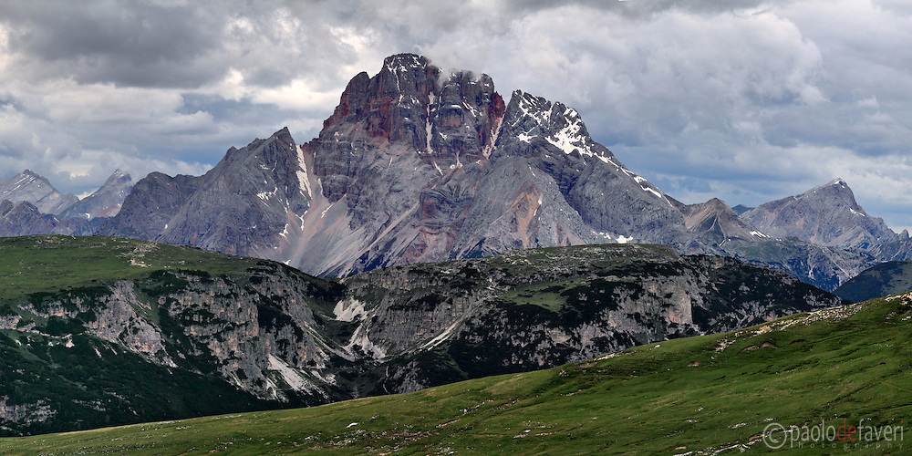 A view at sunset of Croda rossa d'Ampezzo (Hohe Gaisl), Dolomiti, a massif placed at the border between Veneto and the province of Alto Adige / South Tyrol. Taken from the plateau at the foot of Tre Cime di Lavaredo/Drei Zinnen group