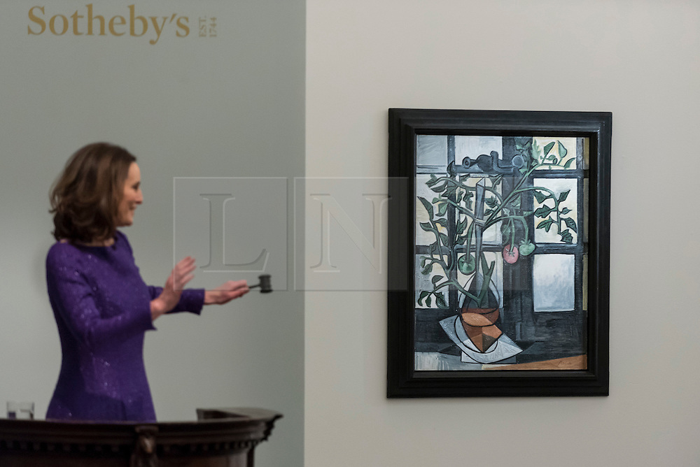 """Licensed to London News Pictures. 01/03/2017. London, UK.  """"Plant De Tomates"""" by Pablo Picasso sold for a hammer price of GBP15m (est. GBP10-15m), at the evening sale of Impressionist and Surrealist Art at Sotheby's in New Bond Street. Photo credit : Stephen Chung/LNP"""