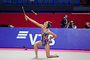 Averina Dina during final at clubs in Pesaro World Cup at Virtifrigo Arena on may 30, 2021. Dina is the 2017-2018-2019 World All-around Champion. She was born on August 13, 1998 in Zavolzhye, Russia. Dina has a twin sister  Arina, she is also a great gymnast
