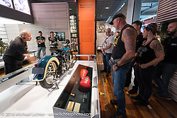 A 1936 first year Knucklehead on display during a tour of the Harley-Davidson Museum during the Milwaukee Rally. Milwaukee, WI, USA. Saturday, September 3, 2016. Photography ©2016 Michael Lichter.