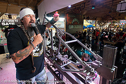 Jack Schitt MC's for a Cycle Source Grease & Gears demo at the Iron Horse Saloon during the annual Sturgis Black Hills Motorcycle Rally.  SD, USA.  August 8, 2016.  Photography ©2016 Michael Lichter.