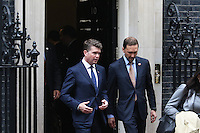 Matthew Barzun, US Ambassador to UK, President Barack Obama and Prime Minister David Cameron, 10 Downing Street, London UK, 22 April 2016, Photo by Richard Goldschmidt