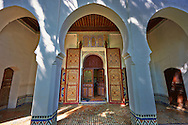 Arabesque Moorish architecture of the Dar Jamai Museum  a typical dwellings of high Moroccan bourgeoisie at the end of XIX century. located in the old Medina built by Mohamed Ben Larbi Jamai grend vizier of Sultan Moulay Hassan (1873-1894). Meknes, Morocco .<br /> <br /> Visit our MOROCCO HISTORIC PLAXES PHOTO COLLECTIONS for more   photos  to download or buy as prints https://funkystock.photoshelter.com/gallery-collection/Morocco-Pictures-Photos-and-Images/C0000ds6t1_cvhPo<br /> .<br /> <br /> Visit our ISLAMIC HISTORICAL PLACES PHOTO COLLECTIONS for more photos to download or buy as wall art prints https://funkystock.photoshelter.com/gallery-collection/Islam-Islamic-Historic-Places-Architecture-Pictures-Images-of/C0000n7SGOHt9XWI