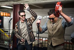 EXCLUSIVE: Maroon 5 with Adam Levine and Jimmy Fallon perform in disguise in the Rockefeller Center Subway Station in New York City, NY on Wednesday November 1, 2017. They appear to be doing scene for the Tonight Show to coincide with Levine's appearance on Monday night. 01 Nov 2017 Pictured: Adam Levine, Jimmy Fallon. Photo credit: MEGA TheMegaAgency.com +1 888 505 6342