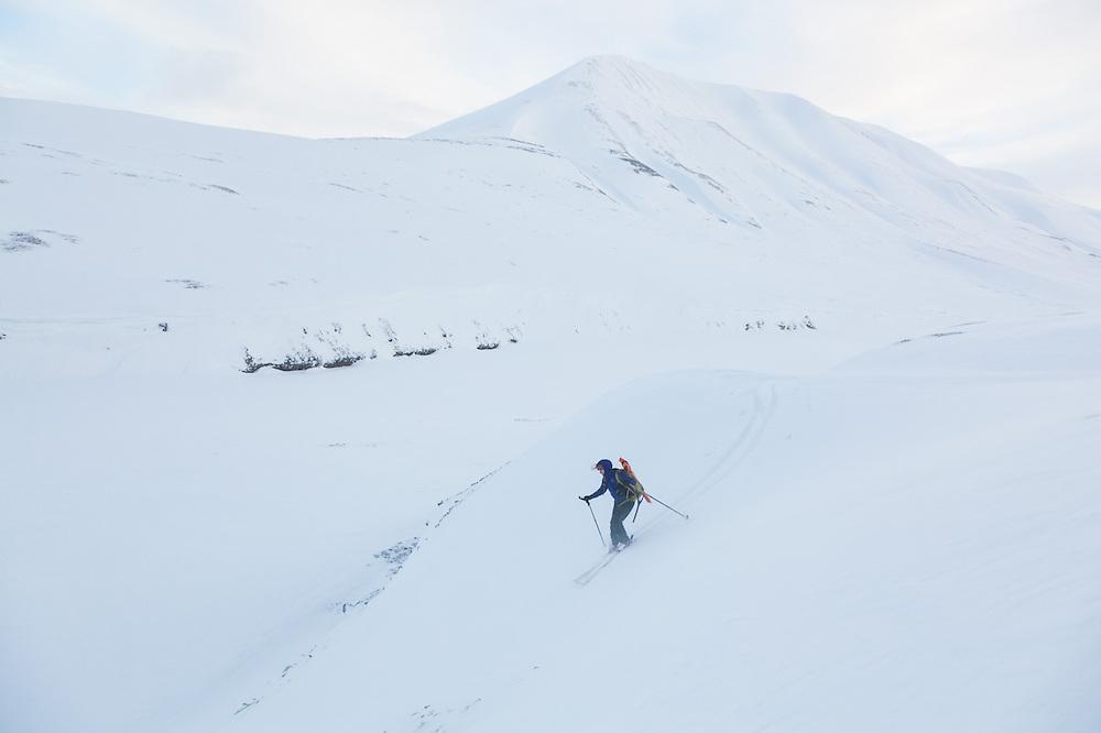 Mylène Jacquemart skis down Foxdalen, Svalbard.
