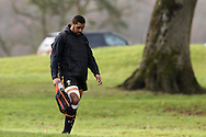 Taulupe Faletau of Wales arrives at training even though he is currently injured. Wales Rugby team training at the Vale Resort, Hensol near Cardiff, South Wales on Thursday 2nd Feb 2017.  The team are preparing for the the RBS Six nations match against Italy.  pic by  Andrew Orchard, Andrew Orchard sports photography.