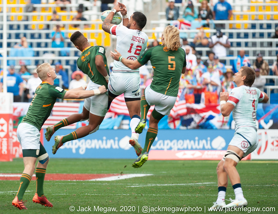 M32 - The United States and South Africa compete in the Cup Quarter Final of the 2020 Los Angeles Sevens at Dignity Sports Health Park in Los Angeles, California. March 1, 2019. <br /> <br /> © Jack Megaw, 2020