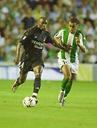 Photo Peter Spurrier<br /> 14/09/2002<br /> 2002 Real Betis vs Real Madrid  - Spanish Liga 1<br /> Real Madrid's, Claude,  Makelele feft and Betis's, Denílson de Oliveira Araújo,