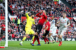 Manchester United's Chris Smalling (centre) reacts after a missed chance during the Premier League match at Old Trafford, Manchester.