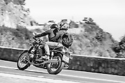 Motorcyclist rides along the R43 in South Africa.