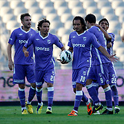 Orduspor's players celebrates his goal during their Turkish Superleague soccer match istanbul BBSK between Orduspor at the Ataturk Olympic stadium in Istanbul Turkey on Sunday 23 September 2012. Photo by TURKPIX