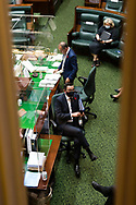 Deputy Premier, James Merlino speaks as the Premier mocks the opposition with his colleagues during Question Time.