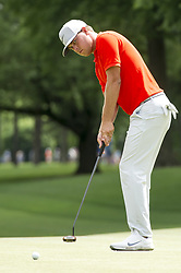 May 5, 2019 - Charlotte, North Carolina, United States of America - Keith Mitchell putts on the ninth green during the final round of the 2019 Wells Fargo Championship at Quail Hollow Club on May 05, 2019 in Charlotte, North Carolina. (Credit Image: © Spencer Lee/ZUMA Wire)