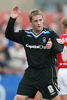 Photo: Rich Eaton.<br /> <br /> Cheltenham Town v Nottingham Forest. Coca Cola League 1. 13/10/2007. Forest's Kris Commons acknowledges the travelling supporters after scoring a hat trick, before being substituted in the second half.