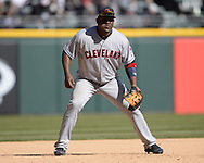 CHICAGO - APRIL 09:  Juan Uribe #4 of the Cleveland Indians fields against the Chicago White Sox on April 9, 2016 at U.S. Cellular Field in Chicago, Illinois.  The White Sox defeated the Indians 7-3.  (Photo by Ron Vesely)  Subject: Juan Uribe