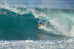 December 11, 2017 - Hawaii, U.S. - Jeremy Flores (FRA) placed 1st in Heat 1of  Round One at the Billabong Pipe Masters 2017 on the North Shore of Oahu. (Credit Image: © Kelly Cestari/WSL via ZUMA Wire)