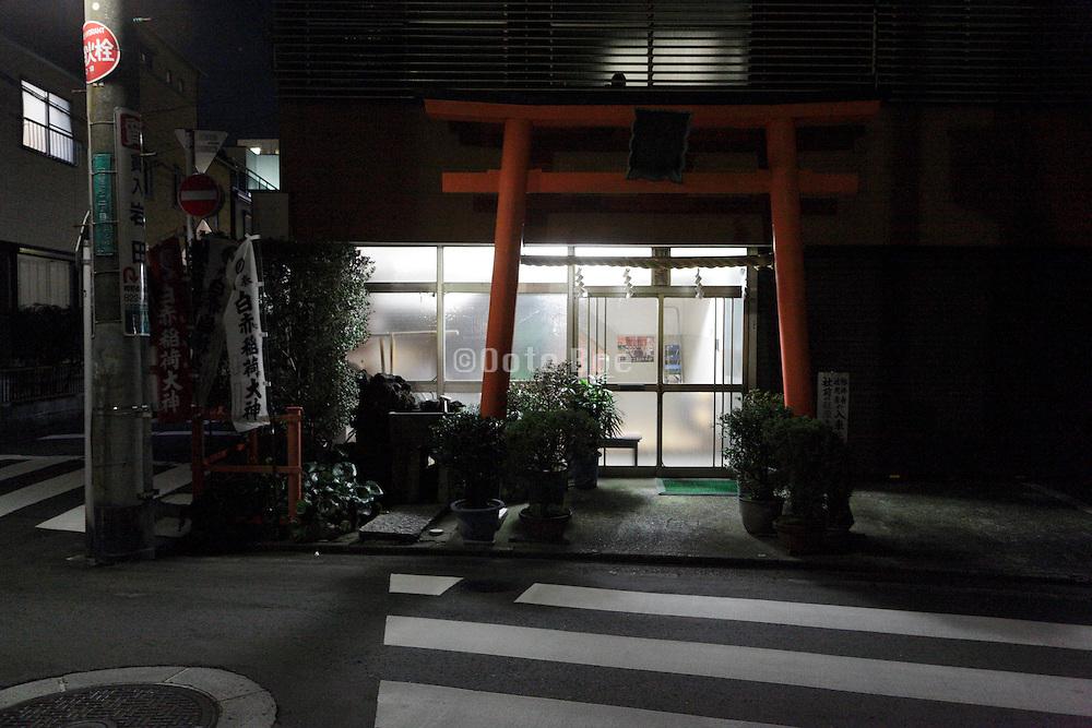 neighborhood culture center and shrine at night Japan Yokosuka