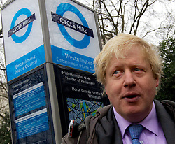 """Mayor of London Boris Johnson announcing he will create a """"Crossrail for the bike"""" as part of his plans to invest nearly £ 1 billion investment in London cycling, March 7, 2013. Photo by Andre Camara / i-Images."""