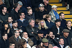 Jeremy Clarkson (centre) in the stands during the Premier League match at Stamford Bridge, London.