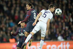 Edinson Cavani of PSG competes with Uros Spajic of Anderlecht during the UEFA Champions League group B match between, Paris Saint-Germain (PSG) and Rsc Anderlecht at the Parc des Princes in Paris, France on October 31, 2017 .Paris Saint-Germain (PSG) won Rsc Anderlecht with 5-0. (Credit Image: © Jack Chan/Chine Nouvelle/Xinhua via ZUMA Wire)