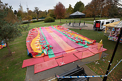 © Licensed to London News Pictures. 04/11/2018. Woking, UK. The deflated slide is seen on the ground in Woking Park after it collapsed injuring eight children. The park was holding a fireworks party when the accident happened. Photo credit: Peter Macdiarmid/LNP