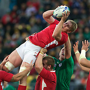 Bradley Davies, Wales, wins a line out during the Ireland V Wales Quarter Final match at the IRB Rugby World Cup tournament. Wellington Regional Stadium, Wellington, New Zealand, 8th October 2011. Photo Tim Clayton...